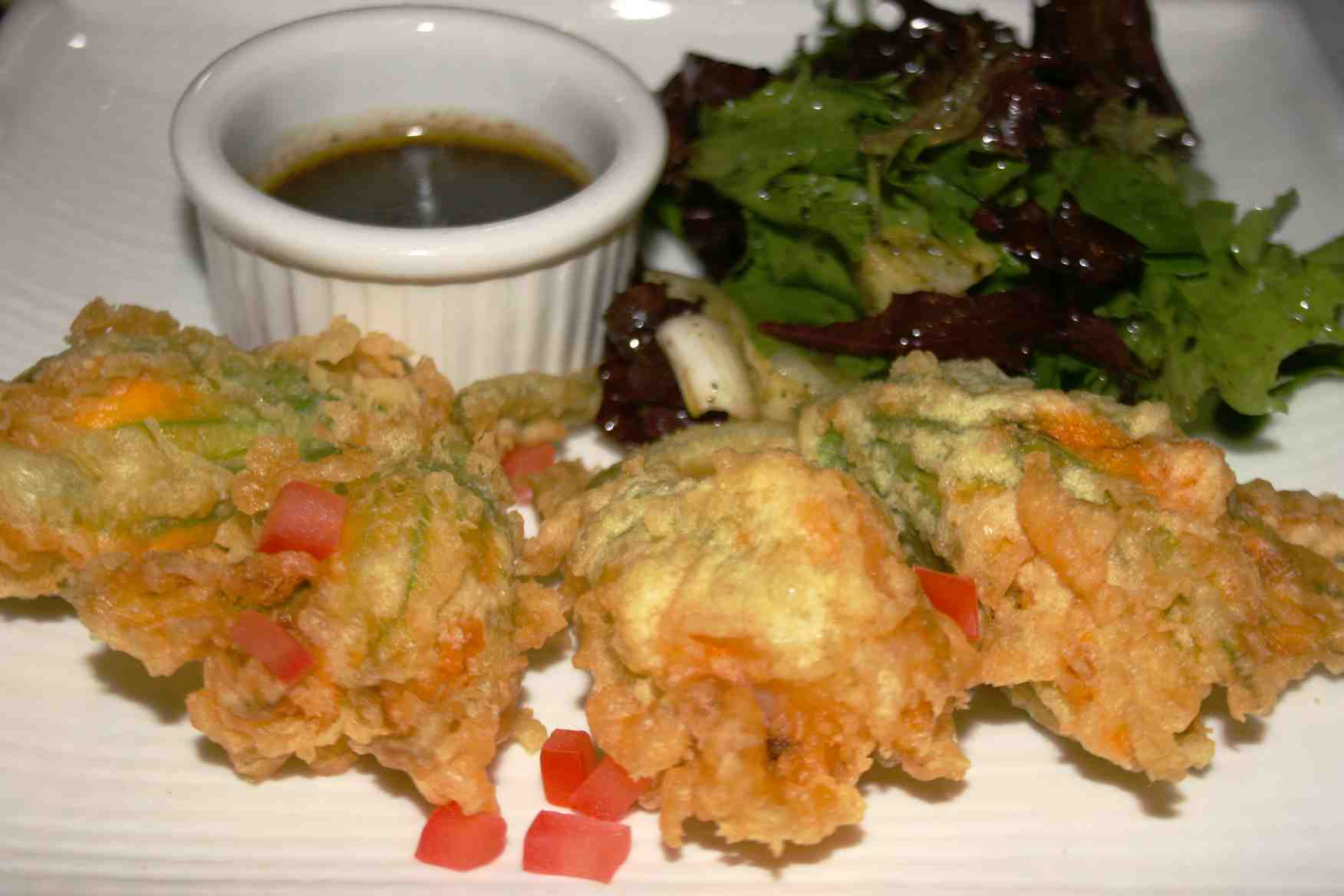 Squash Blossoms with Shrimp Mousse