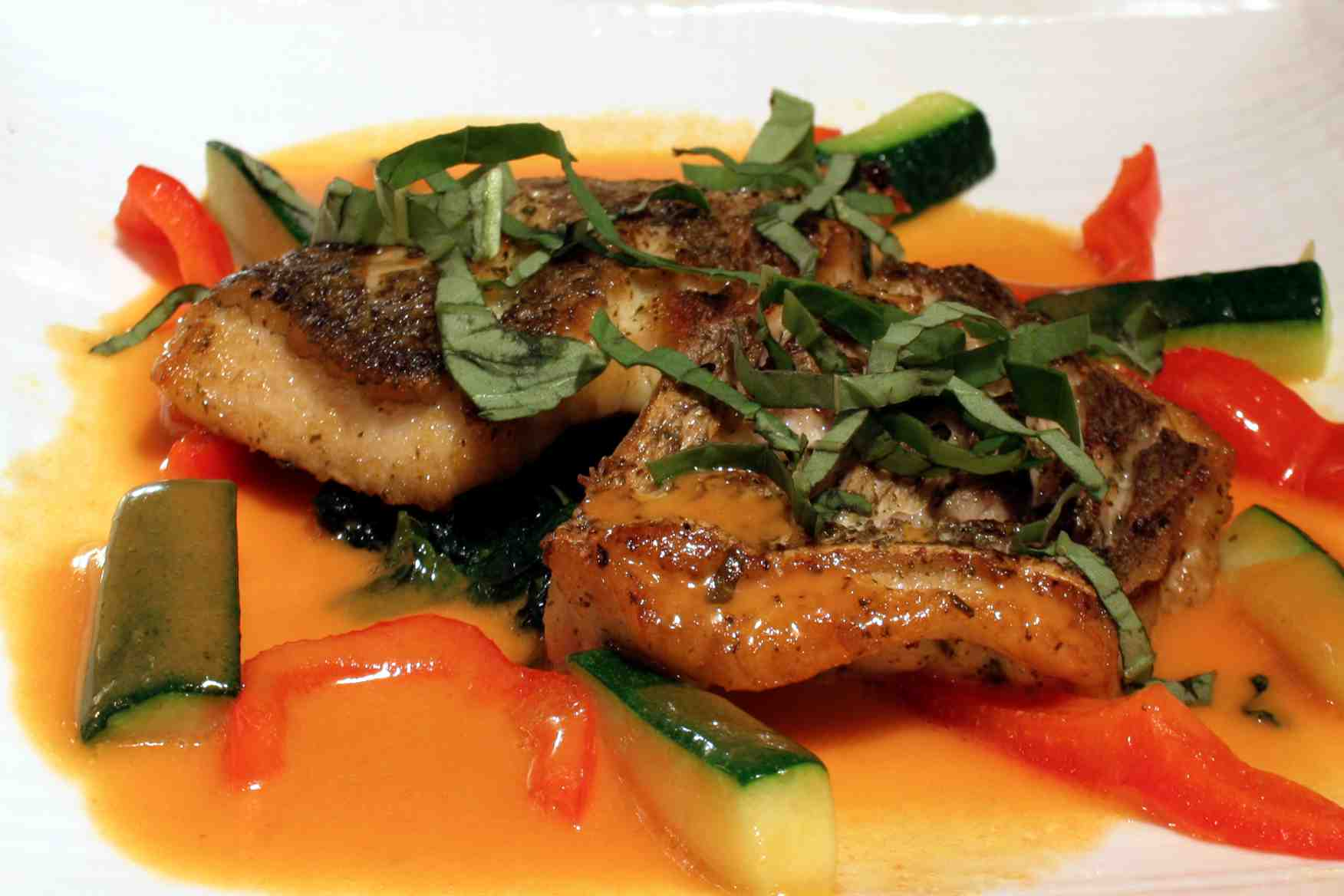 Snapper with Tomato Basil Sauce